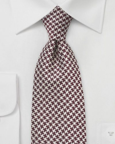 X Check Pattern Necktie in Burgundy and Cream