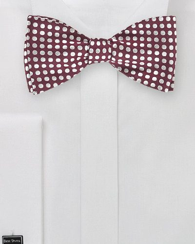 Tawny Port and Silver Polka Dot Self Tie Bow Tie