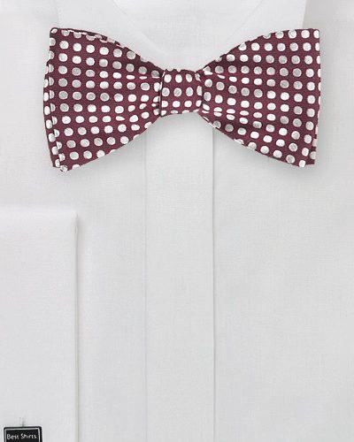 Tawny Port and Silver Polka Dot Self Tie Bow Tie