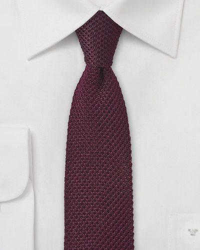 Slim Knit Necktie in Tawny Port