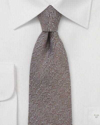 Mens Brown Necktie with Herringbone Design