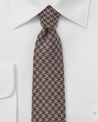 Mens Designer Dogstooth Skinny Tie in Brown