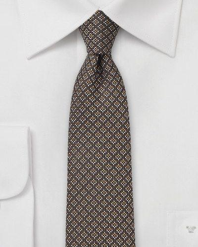 Skinny Wool and Silk Brown Necktie