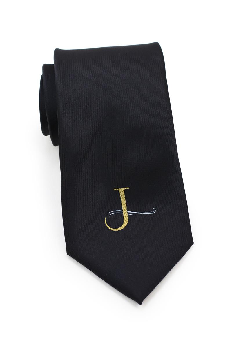 Custom logo necktie in black and gold