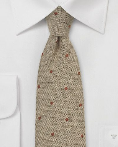 Sand and Copper Wool Small Dot Mens Necktie