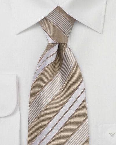 Wheat and Tan Striped Silk Mens Tie