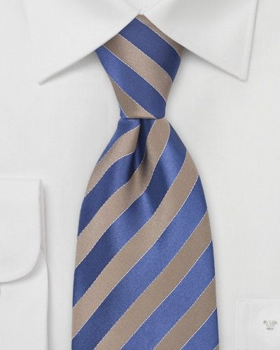 Tan and Blue Striped Mens Necktie