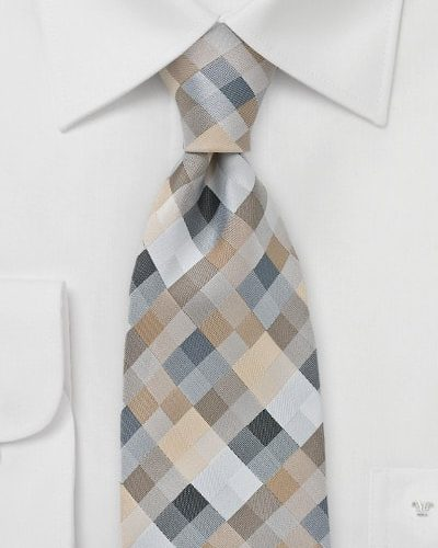 Brown, Tan, and Gray Patchwork Mens Necktie