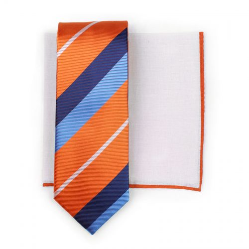 Orange and Blue Striped Tie Paired with White Linen Pocket Square with Orange Border