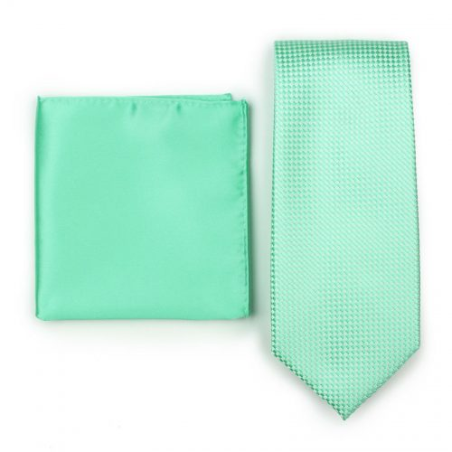 Textured Mint Mens Necktie Paired with Solid Bright Mint Pocket Square