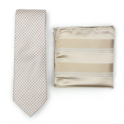 Tan and White Houndstooth Skinny Tie Paired to Light Brown and Cream Striped Pocket Square