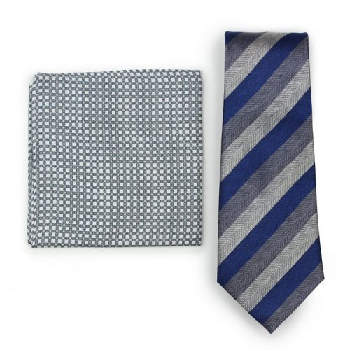 Navy, Charcoal, Gray Striped Skinny Tie Paired with Geometric Pocket Square in Gray