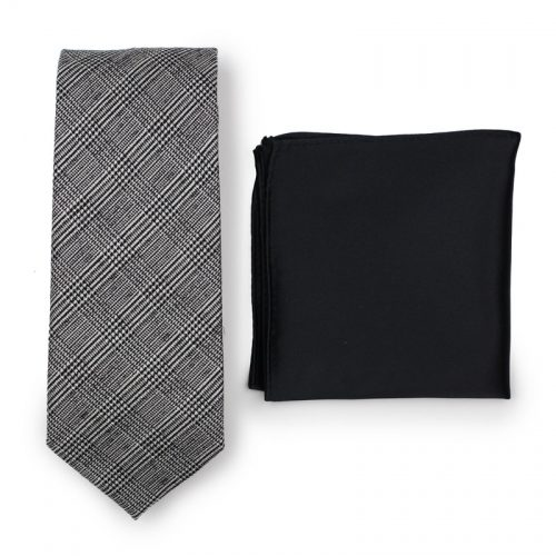 Charcoal Gray Glen Check Mens Necktie Paired to Solid Black Pocket Square