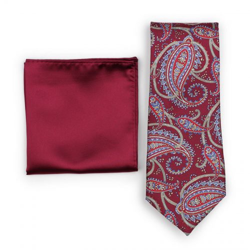 Mens Traditional Burgundy Paisley Necktie Paired to Solid Dark Red Solid Square