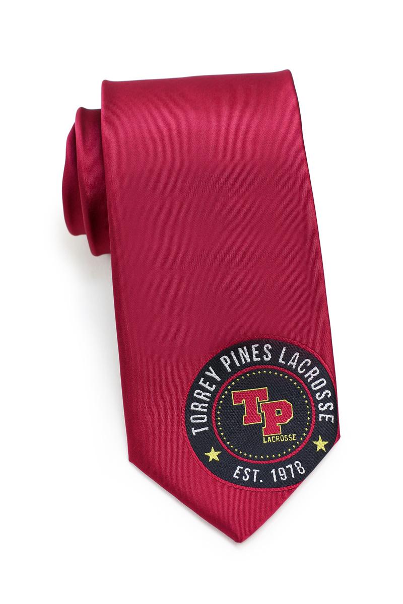 maroon red logo necktie