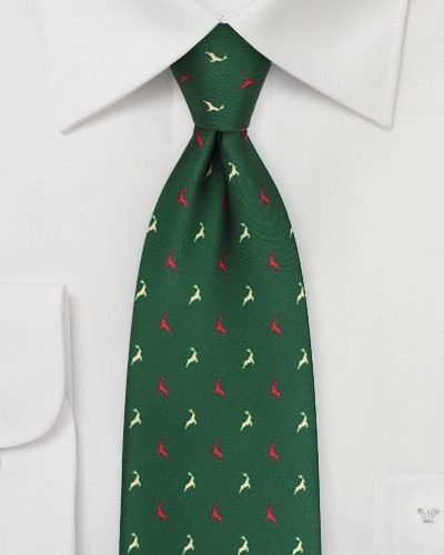Cheap-Neckties Menswear Color of the Month: Green Christmas Tie with Reindeers in Cream and Red