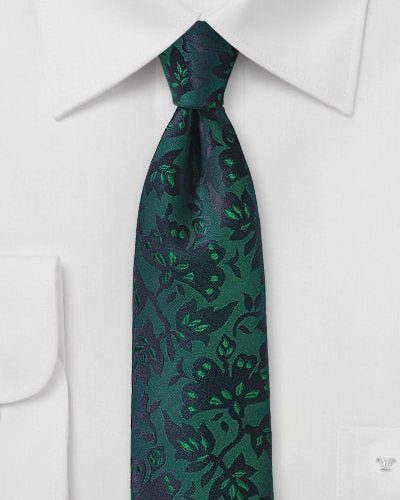 Cheap-Neckties Menswear Color of the Month: Pine Green Silk Tie with Floral Design