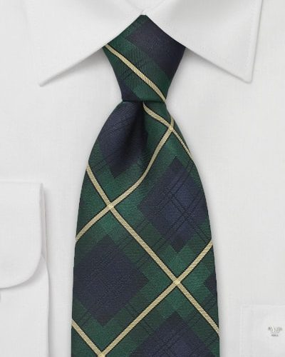 Cheap-Neckties Menswear Color of the Month: Classic Tartan Plaid Tie in Hunter Green