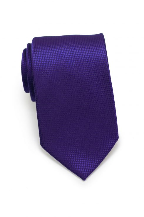 Textured Shiny Solid Mens Necktie in Purple