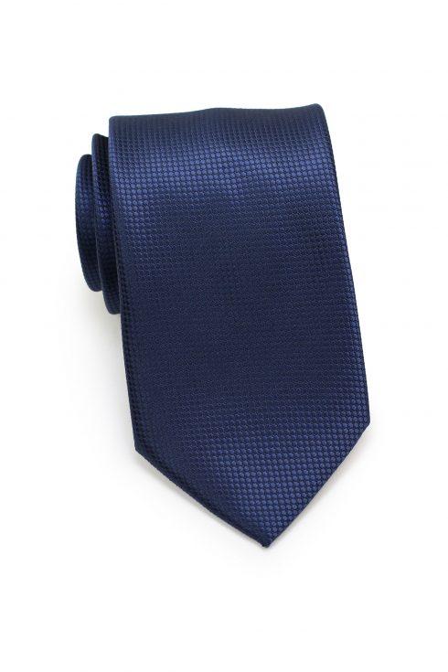 Textured Shiny Solid Mens Necktie in Navy