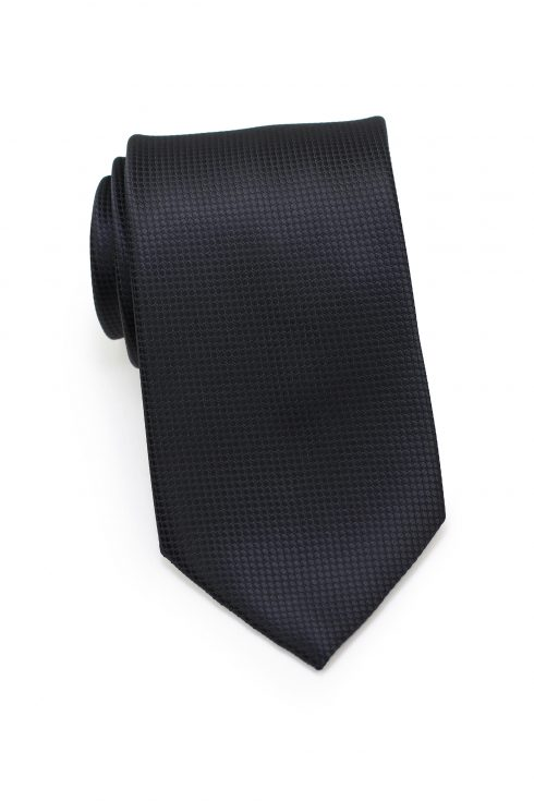 Textured Shiny Solid Mens Necktie in Jet Black