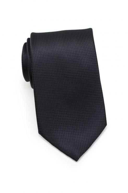 Textured Shiny Solid Mens Necktie in Jet Black