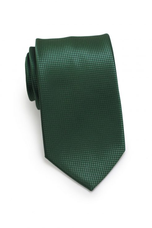 Textured Shiny Solid Mens Necktie in Dark Green