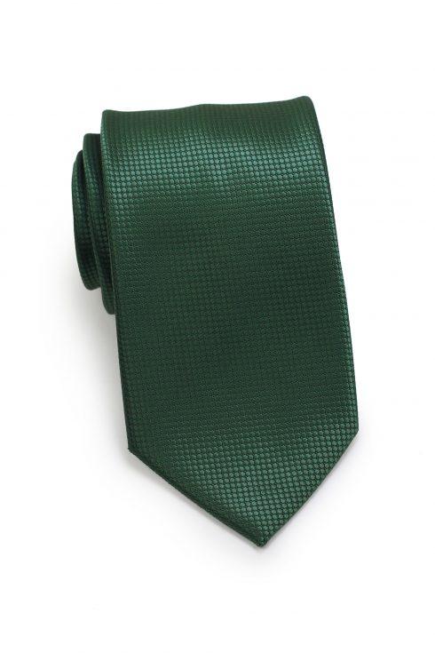 Textured Shiny Solid Mens Necktie in Dark Green