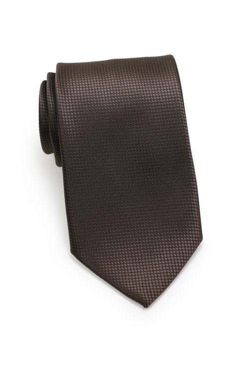Textured Shiny Mens Necktie in Brown