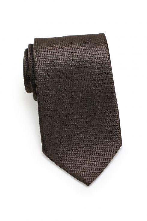 Textured Shiny Mens Necktie in Brown