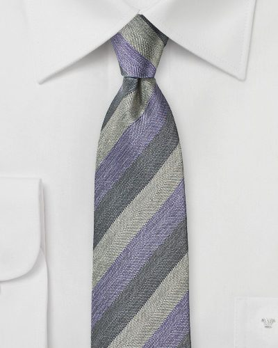 Striped Silk Tie in Lilac and Grays
