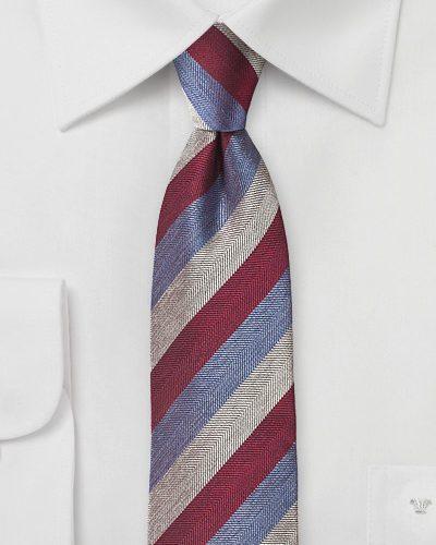 Striped Silk Necktie in Red, Silver, Lavender