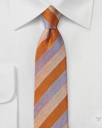 Striped Silk Tie in Orange, Peach, Lavender