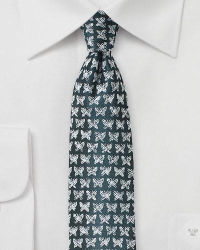 Dark Green Teal Necktie with Butterfly Print