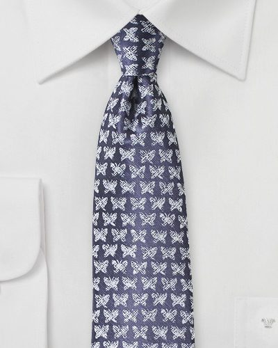 Mens Necktie with Butterfly Print in Violet