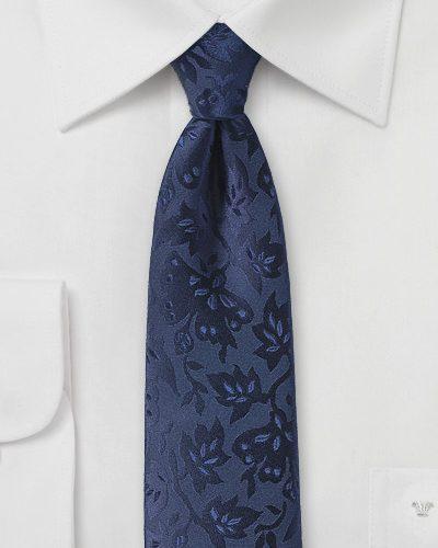 Dark Navy and Black Floral Silk Necktie