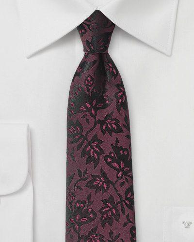 Designer Floral Silk Tie in Oxblood