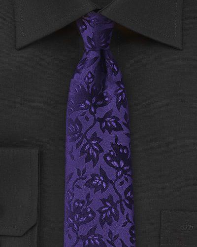 Violet Purple and Black Floral Mens Necktie