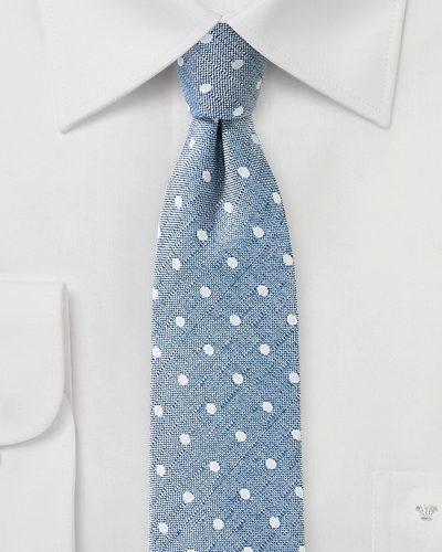 Faded Denim Blue Polka Dot Tie