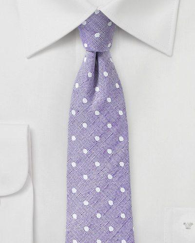 Linen Polka Dot Tie in Lilac