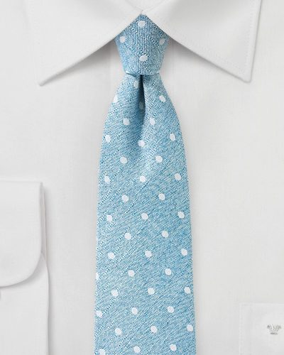 Aquamarine Blue Tie with Polka Dots