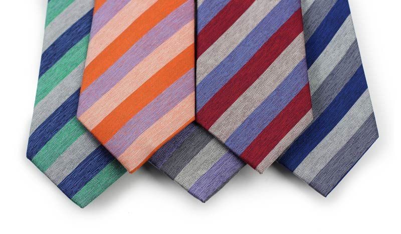 Mens New Collection - Striped Silk Ties in 5 Colors