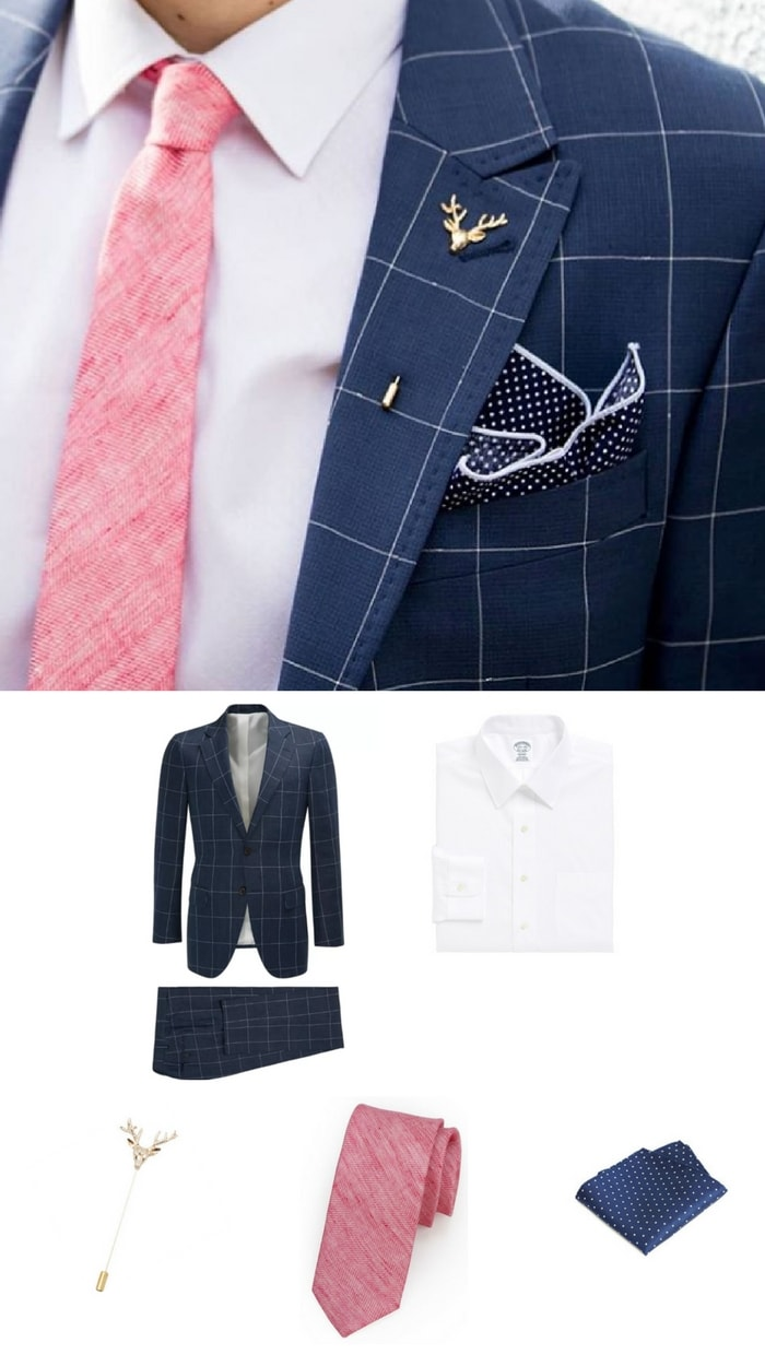 How to Wear Pink in Summer: Textured Tie + Navy Suit