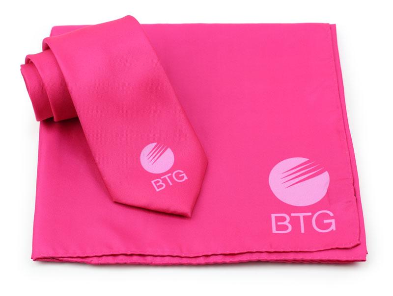 magenta pink logo necktie and scarf