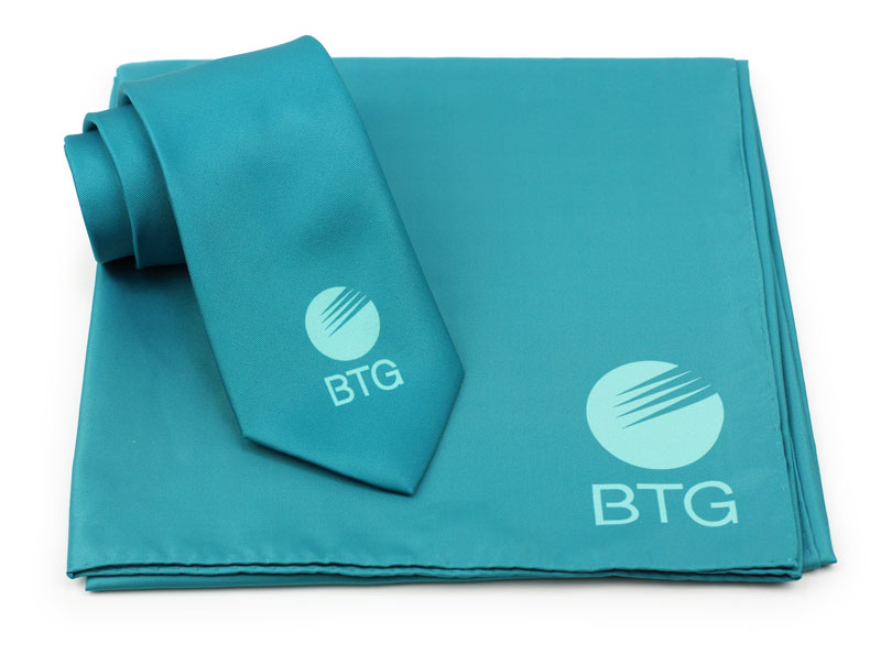 Teal logo mens ties and scarves