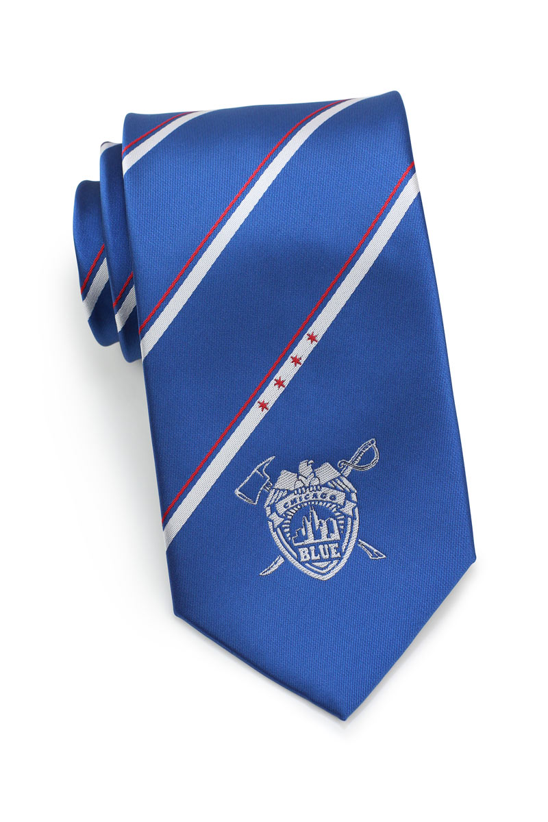custom striped mens tie with embroidered logo crest