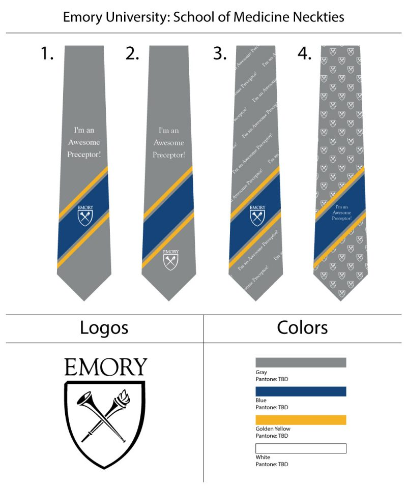 Custom text embroidered neckties