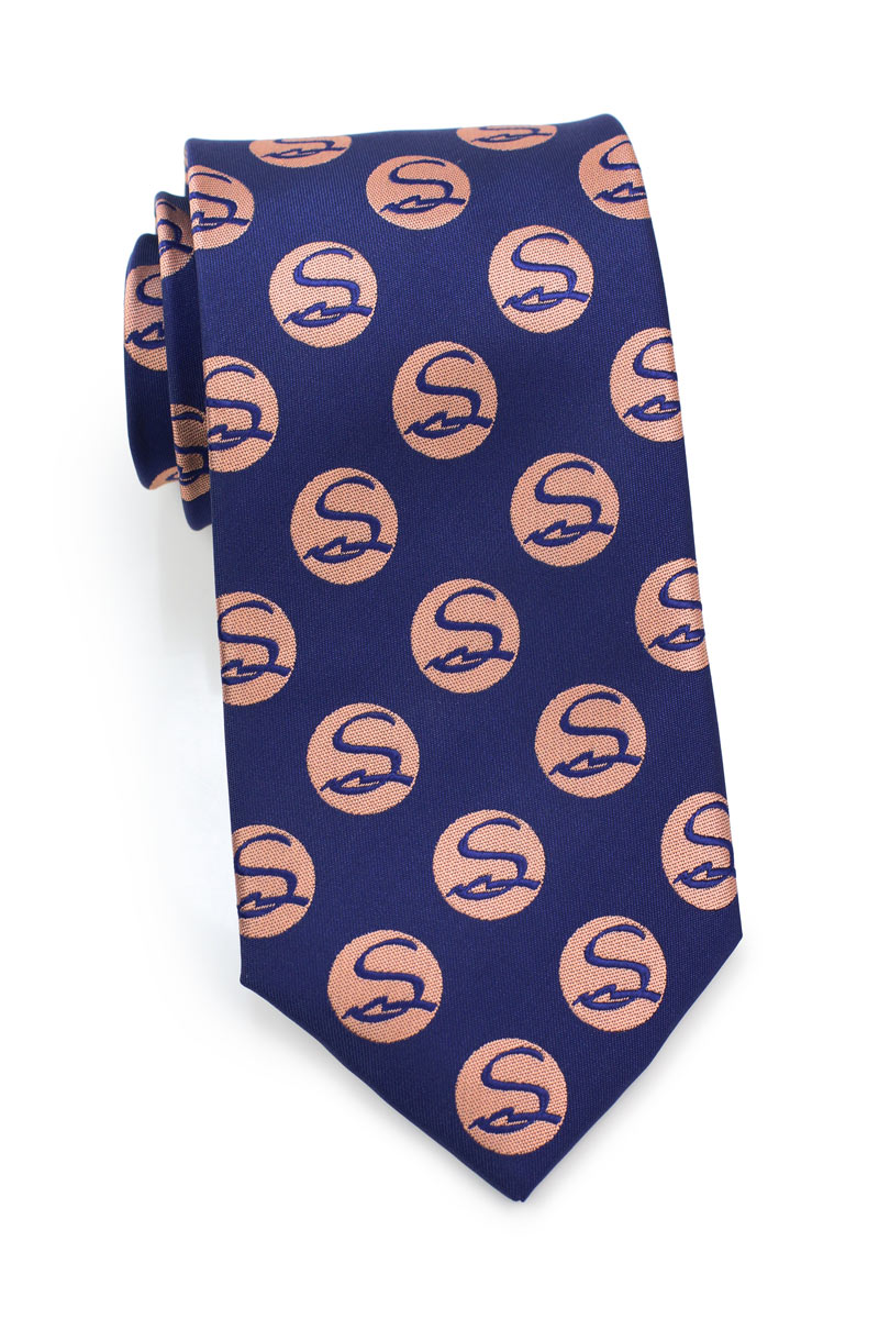 navy blue and coral necktie custom designs