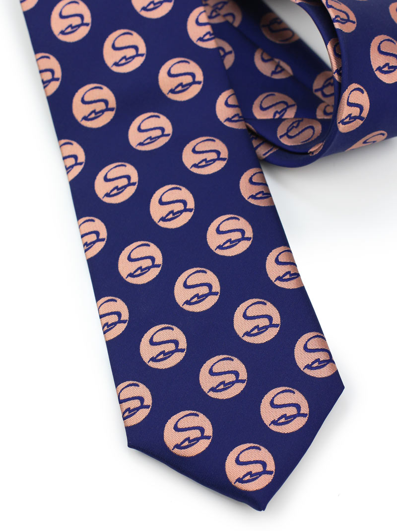 Custom logo tie in navy and coral pink