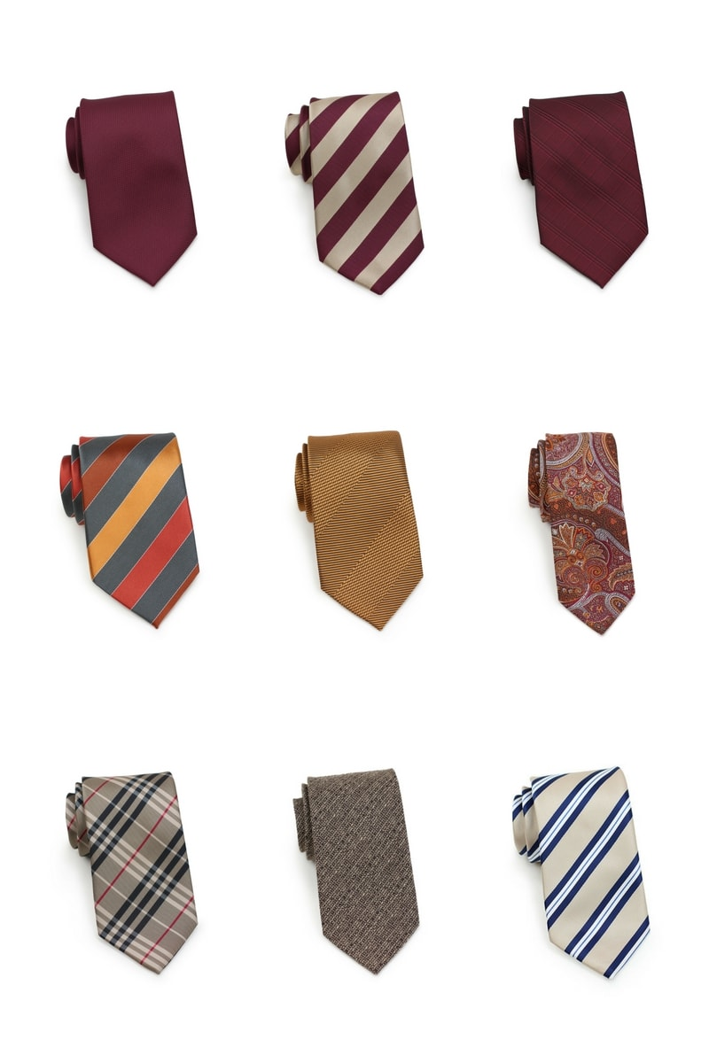 Burgundy, Orange, Gold, Tan Fall Neckties